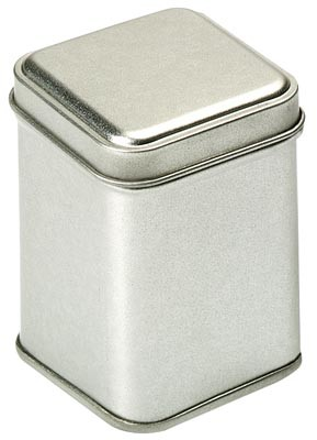 25g Silver caddy, fitted lid, square
