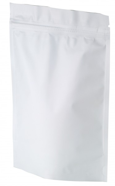 Stand up pouch with zip matt white130x200 mm
