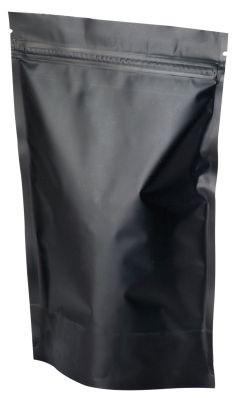 Stand up pouch with zip matt black 130x200 mm