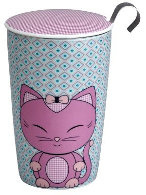 Double walled mug 'Miss Miew Pinky' 350 ml porcelain with lid and stainless steel strainer
