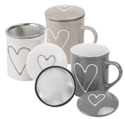 Keramik Deckelbecher 'Herzchen' 3-farbig 250 ml