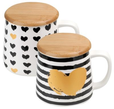 Porc. mug 350 ml 'Heart of Gold' with wooden lid