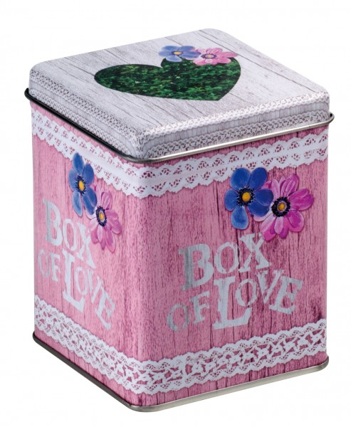 Fitted lid square 'Box of Love' 25 g