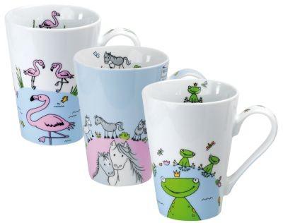# Porzellan Becher 'Animals' 420 ml 3-fach sortiert