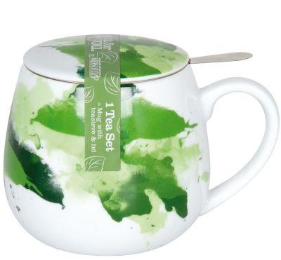 Porcel. Mug w/filter+lid 'Seeing Green'