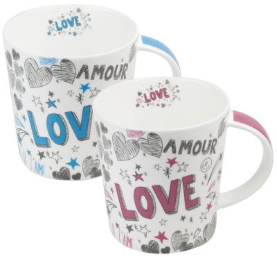 FBC Mega-Mug 'Love' 500 ml, 2 assortis