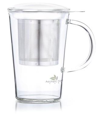 Glass mug 'Arthur' 400 ml with lid and strainer