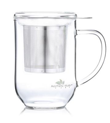 Glass mug 'Theodor' 500 ml with lid and strainer