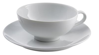 Porcelain teacup with saucer