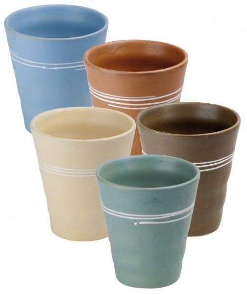 Japan ceramic cup 'Kimora' 5-assorted designs