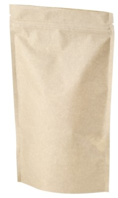 Stand up pouch + zip kraft 140 x 240 mm