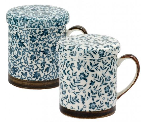 Japan mug 'Hana' 300 ml with lid and infuser 2-assorted designs