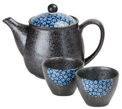 Japan Teeset 'Shiroi hana' mit 1 Teekanne + 2 Cups