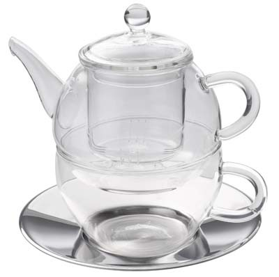 Glass Tea for one Set 280 ml with stainless steel