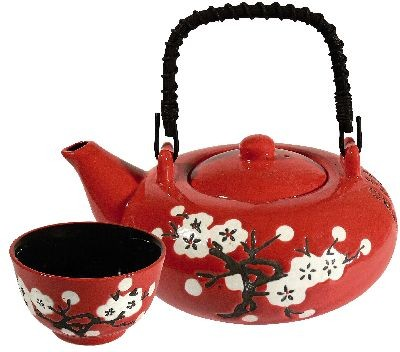 Teapot 0,6 l w/4 Cups 'White Plum Blossom''