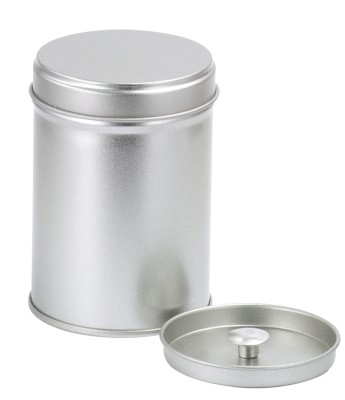 Tin 'Silver' 50g fitted lid round with inner lid