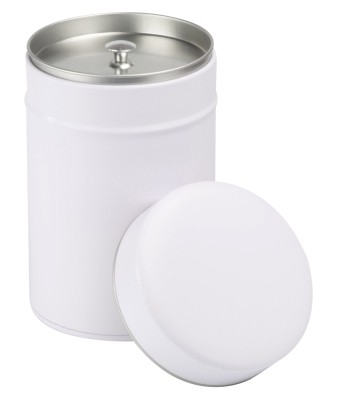 Tin 'Exclusiv' fitted lid round with inner lid 150g white
