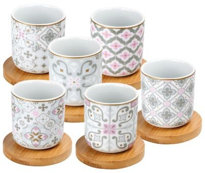 # Porzellan espresso Cups 'Grey Tiles' 70 ml mit Untersetzer aus Bambus